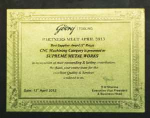 Best Supplier Award (1st Prize)